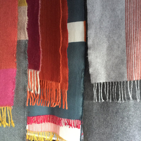 Jane Keith - Angora wool scarves drying after final finishing wash