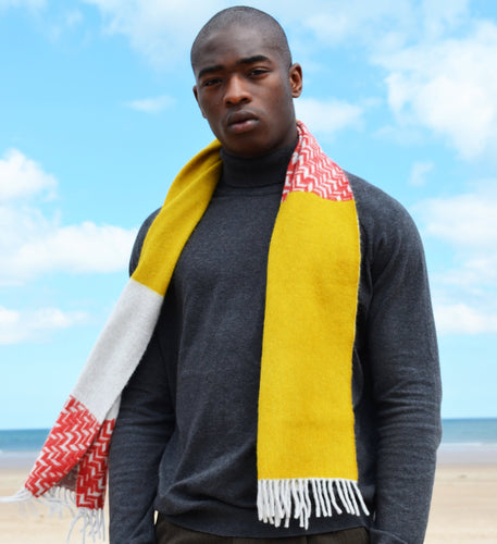 Colour Block hand printed Angora Wool scarf - Staffa 12 menswear