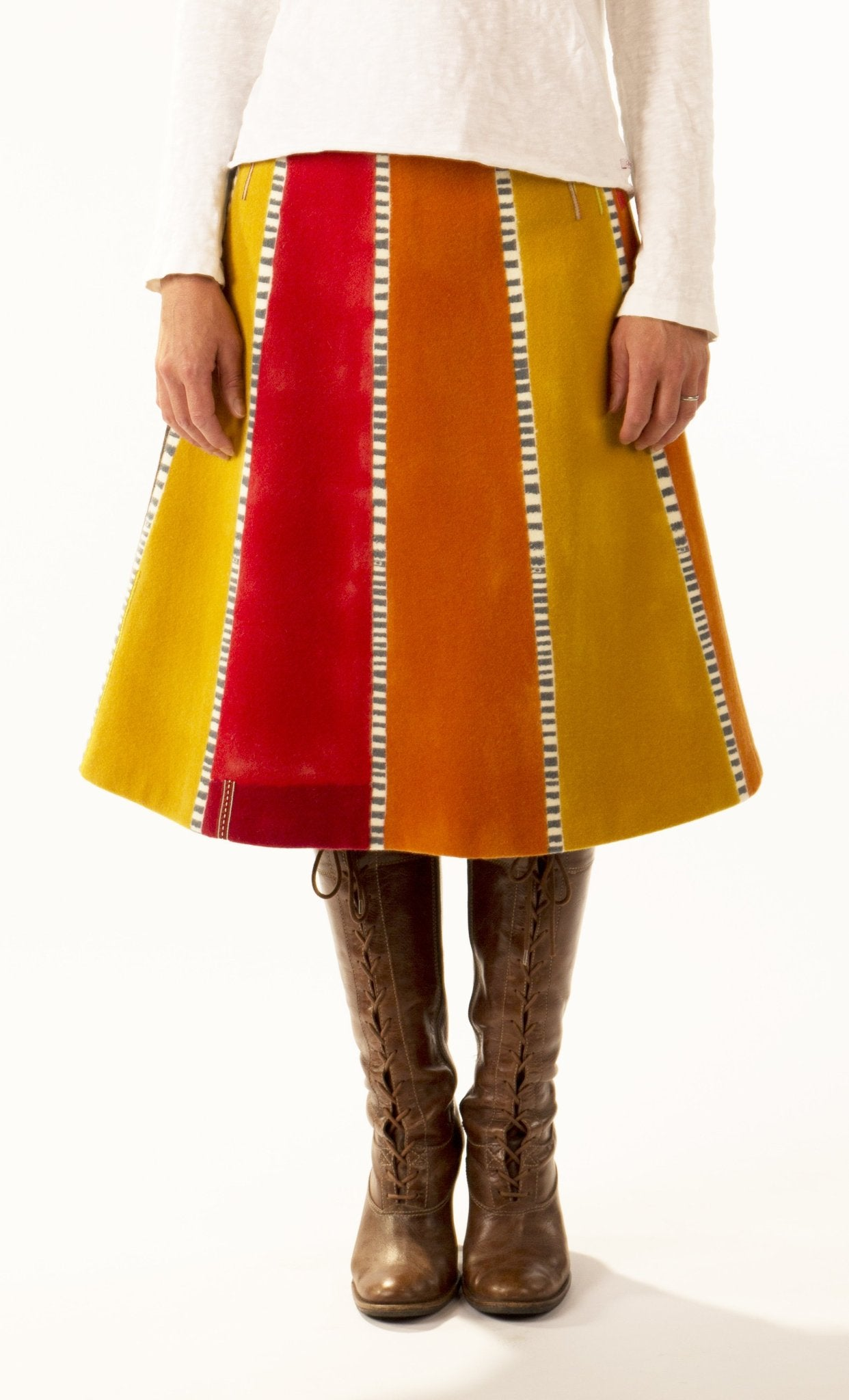 Jane keith Designs hand printed and painted wool skirt 'Linear Stripes'