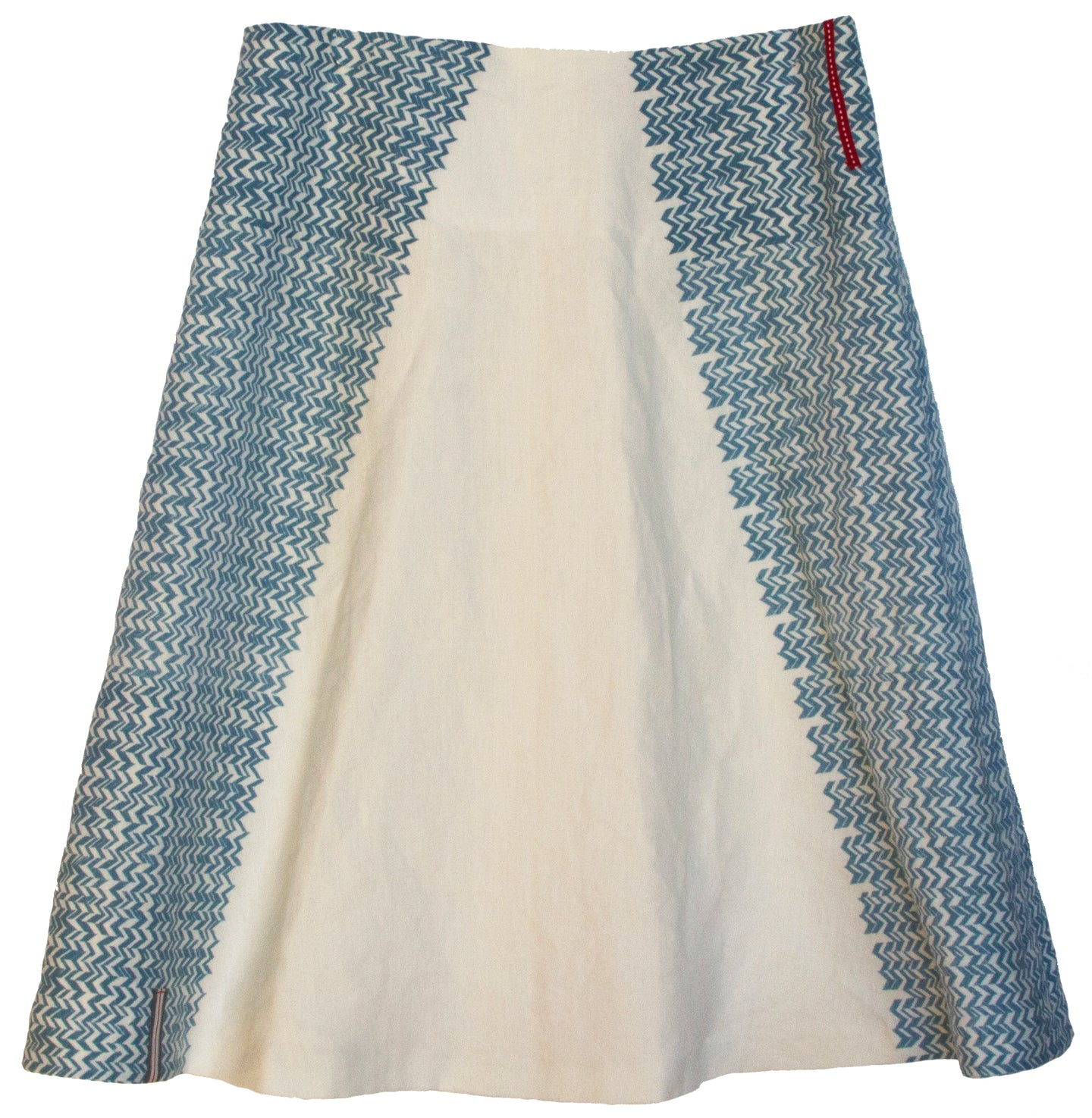 White A-Line linen skirt 'side seam chevrons'.
