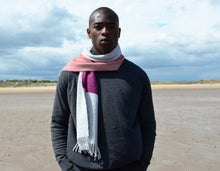 Colour Block hand printed Angora Wool scarf - Staffa 5 menswear