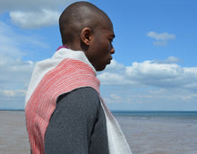 Colour Block hand printed Angora Wool scarf - Staffa 6 menswear