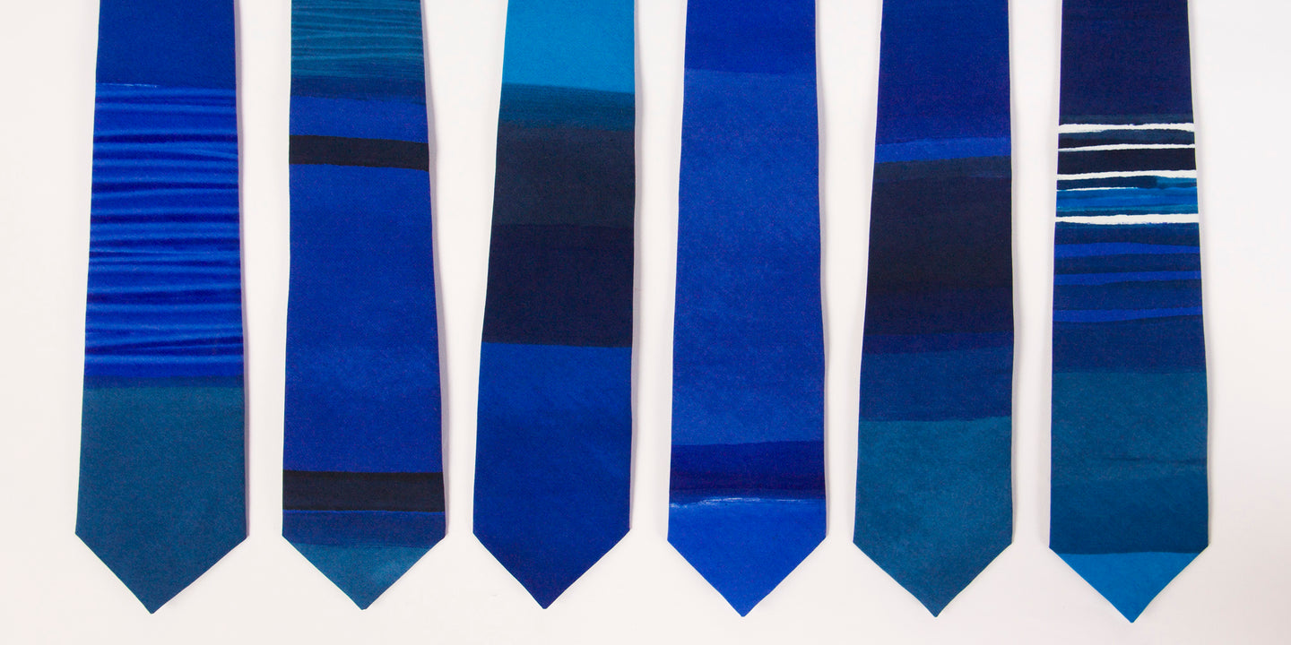 Royal blue 'Essaouira' striped hand painted tie