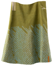 'Dashes' green heavyweight linen A-line skirt