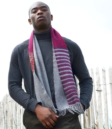 Colour Block hand printed Angora Wool scarf - Staffa 9 menswear