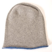 Hand painted coloured edge cashmere hat - Blue.