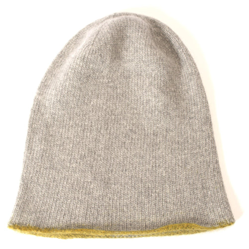 Hand painted coloured edge cashmere hat - yellow.