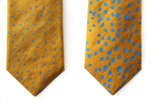 SNOW - Gold and Blue indian douppion silk tie
