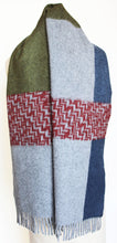 JKD Angora/wool 'colour block' green block with  red herringbone blocks on derby grey (draped)