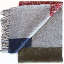 JKD Angora/wool 'colour block' green block with  red herringbone blocks on derby grey (folded)