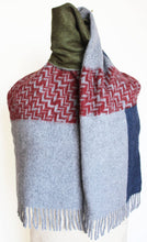 JKD Angora/wool 'colour block' green block with  red herringbone blocks on derby grey (knotted)
