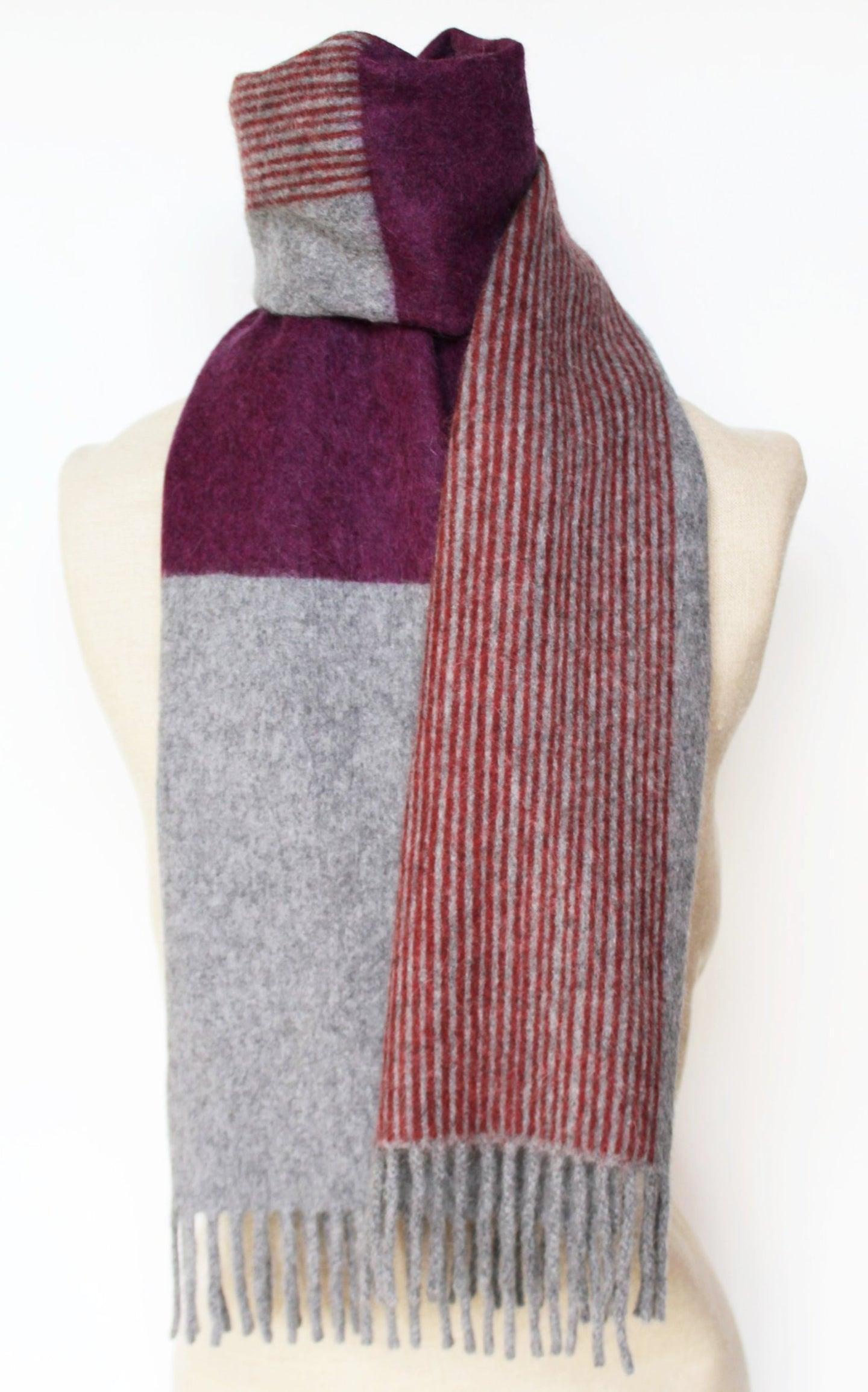 Jane Keith Designs Colour Block hand printed Angora Wool scarf - Staffa 5