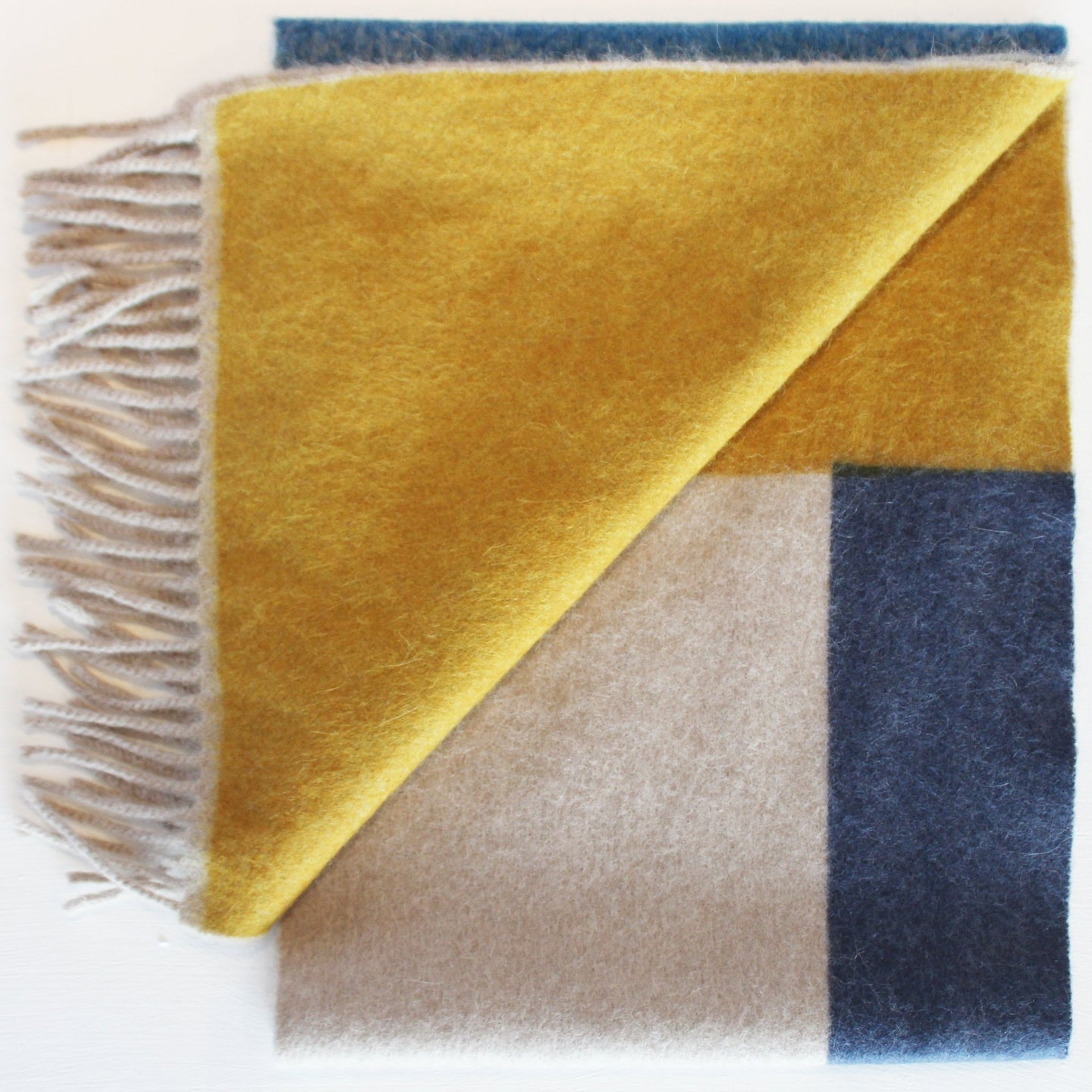 Colour Block hand printed Angora Wool scarf - Staffa 10 womenswear and menswear