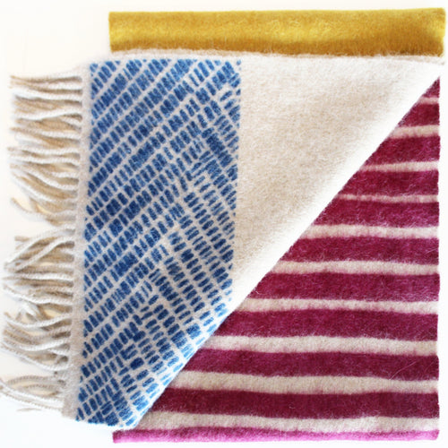 Colour Block hand printed Angora Wool scarf - Staffa 11 menswear