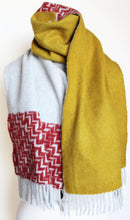 Yellow and red printed anogora wool scarf