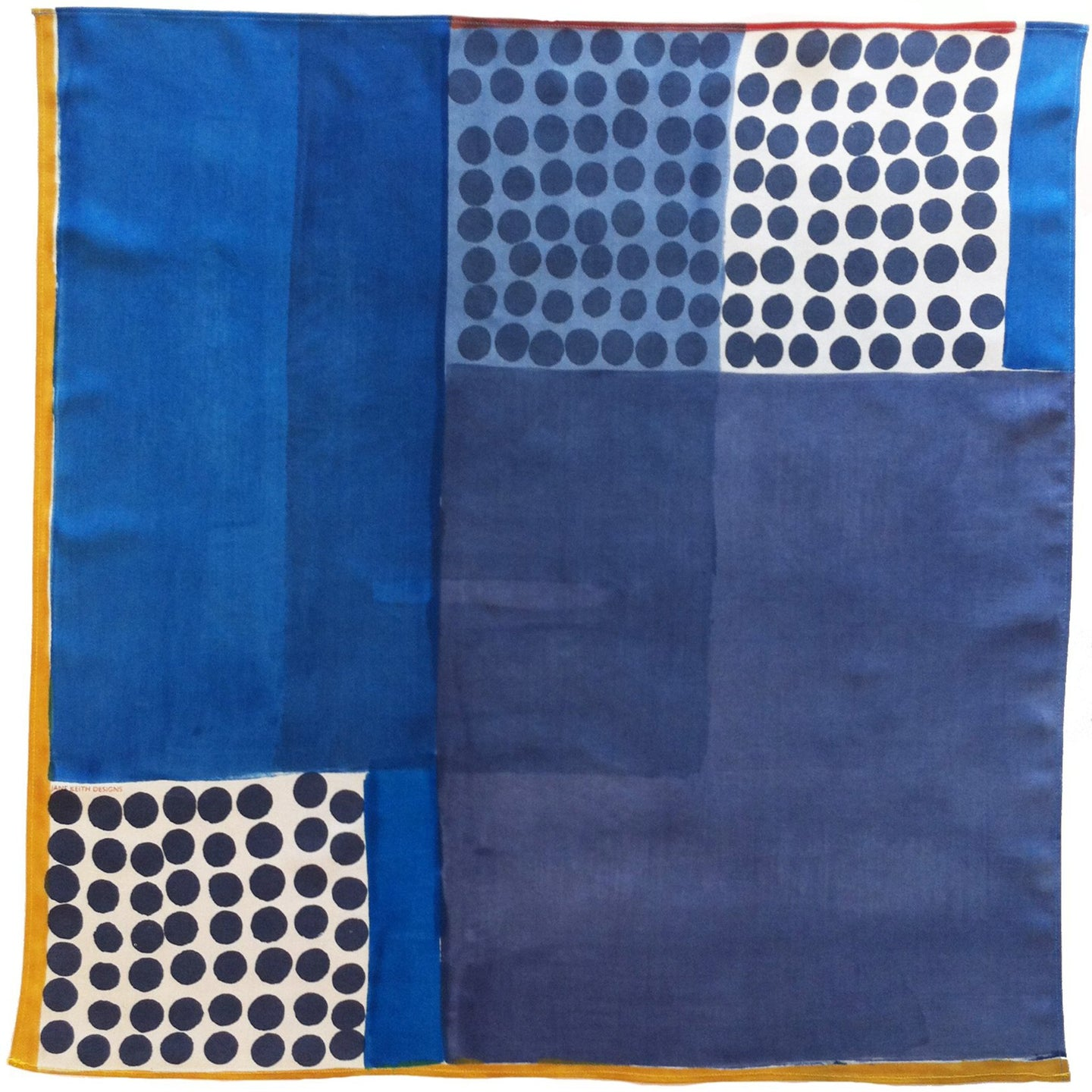 Jane Keith Designs Hand printed silk neckerchief style no 13 - blues