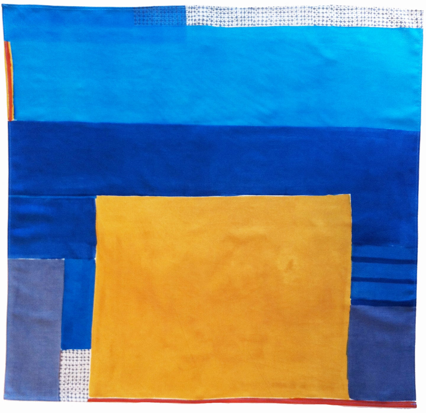 Large hand printed and painted silk neckerchief (JKD neckerchief 7)