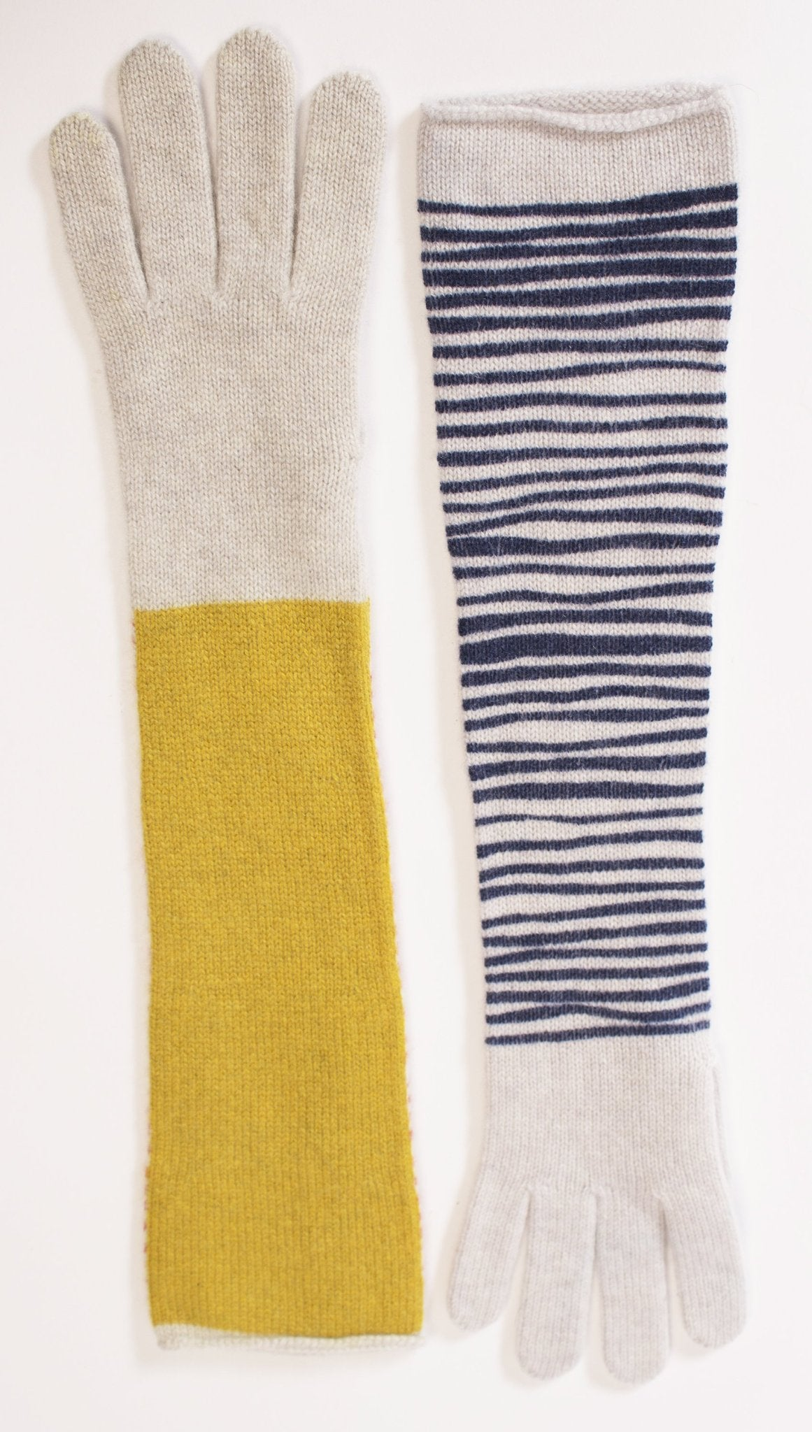 Ladies long cashmere glove - stripe back.
