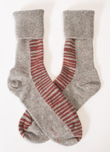 Hand printed striped ladies cashmere socks