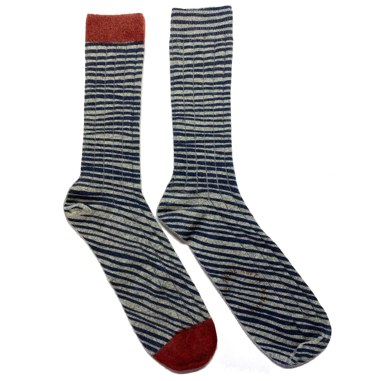 Red toe single sided striped mens cashmere socks
