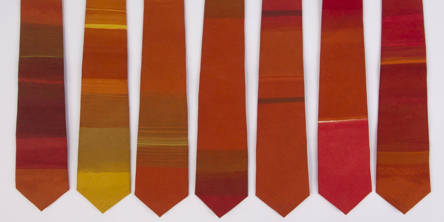 Orange 'Essaouira' striped hand painted tie