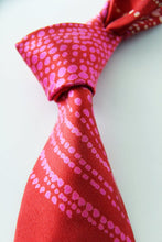 SMALL DOT Red and pink hand printed silk tie.