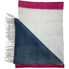 Staff 10 - Colour block angora wool scarf Silver base (pink and teal blocks)