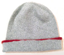 Hand painted coloured edge cashmere hat - Red.