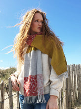 Colour Block hand printed Angora Wool scarf - Staffa 12