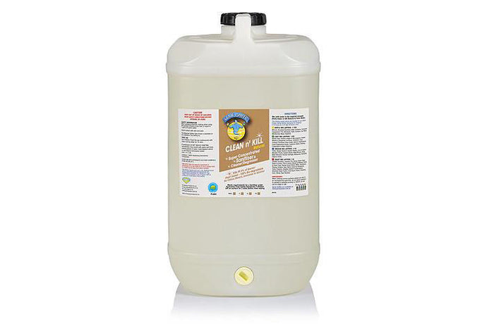 Clean n Kill Natural CONCENTRATED SANITISER Is Certified Hospital Grade Sanitiser / cleaner & Meets the requirements under the Australian Food Safety Standards - 15 Ltr Drum
