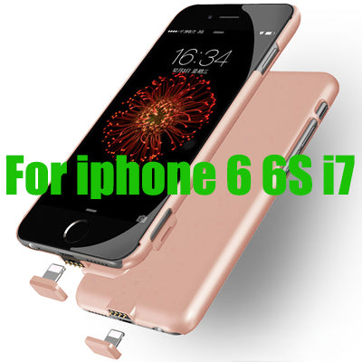 Ultra Thin i7 Battery Case Slim Smart Power Bank Case For iPhone6 6S 7 Plus Power Case Luxury Cover gift Tempered film USB
