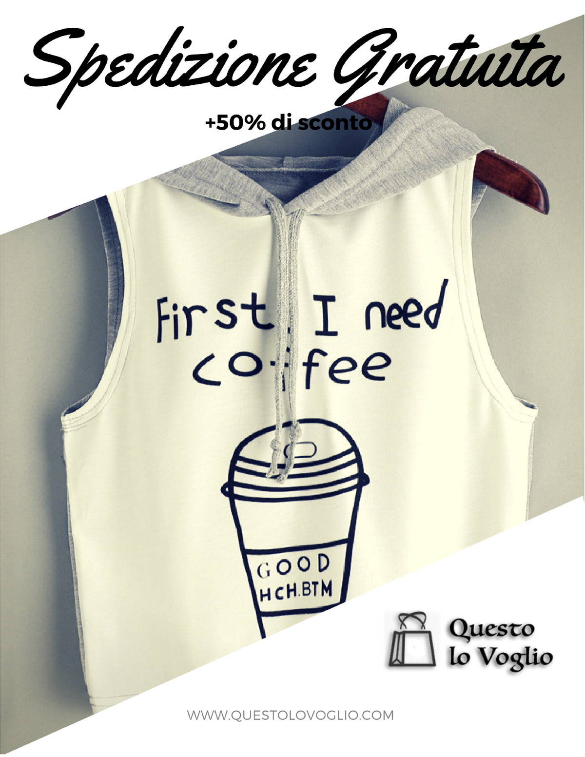 Collezione Estate 2017 - T-Shirt donna Fashion: First I need Coffee - SPEDIZIONE GRATUITA