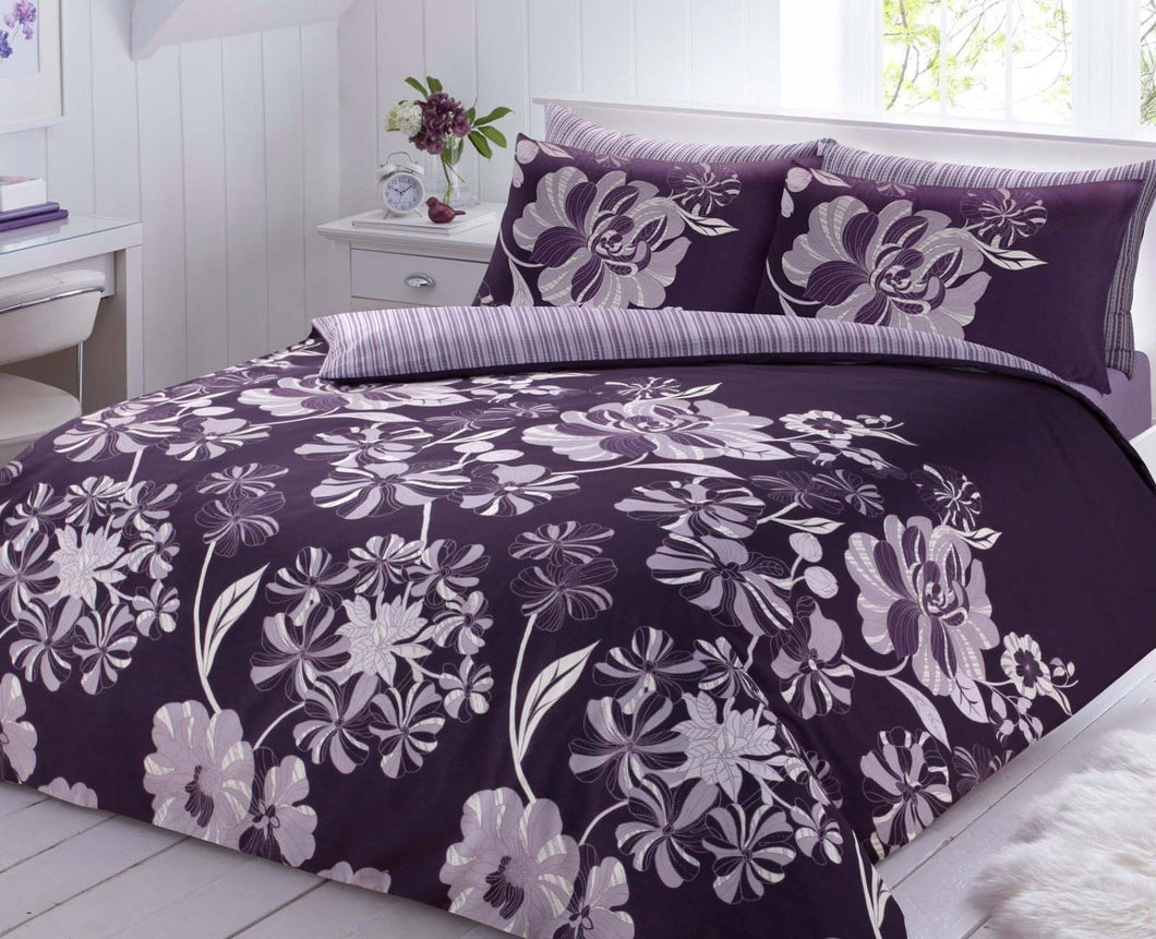 Linear Floral Purple Duvet Cover with Pillow Case Quilt Cover ... : purple quilt cover - Adamdwight.com