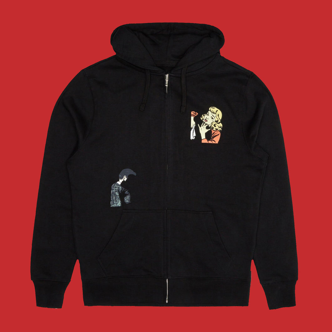 SPLIT ZIP UP HOODIE - BLACK