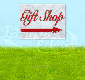 Gift Shop Right Arrow Yard Sign