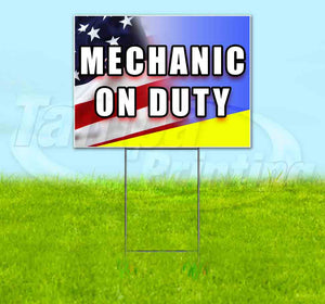 Mechanic On Duty Yard Sign