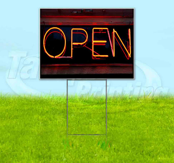 Open Neon Sign v3 Yard Sign