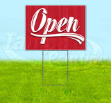 Open Red Vintage Yard Sign