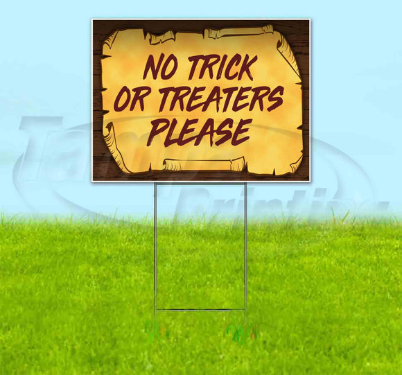 No Trick Or Treaters Please Scroll Yard Sign