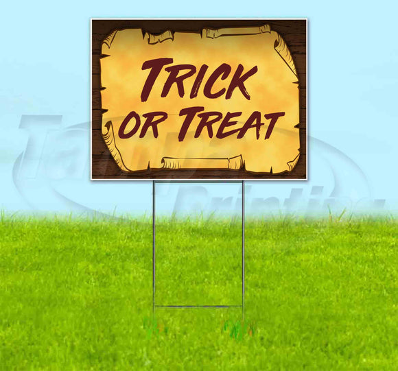 Trick Or Treat Scroll Yard Sign