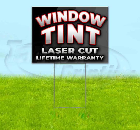 Window Tint Laser Cut Lifetime Warranty Red Yard Sign