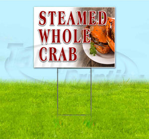 Steamed Whole Crab Yard Sign