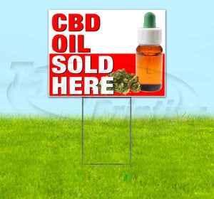 Stripe CBD Oil Sold Here Red Yard Sign
