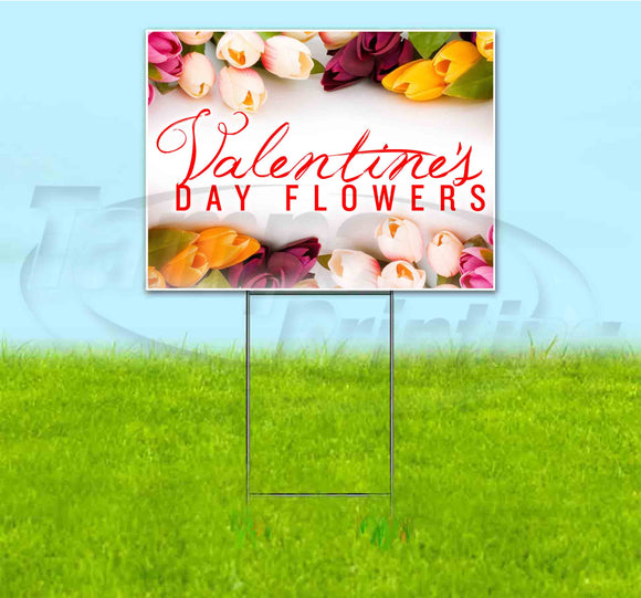 Valentines Day Flowers Yard Sign