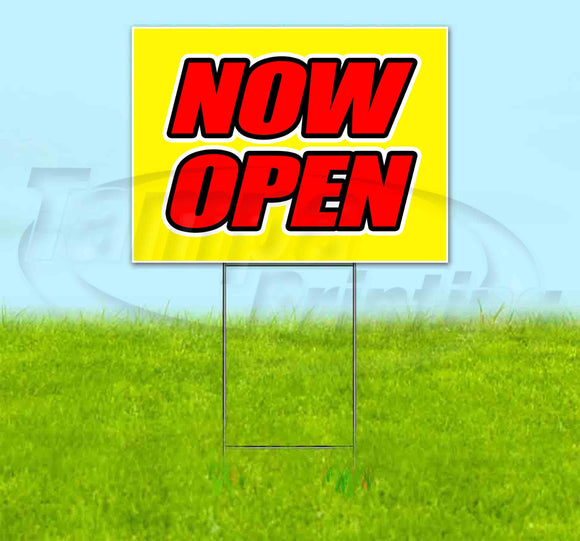 Now Open Yellow Background Yard Sign