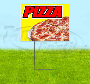 Pizza Yellow Background Yard Sign