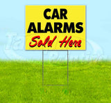 Car Alarms Sold Here Yellow Cursive Yard Sign
