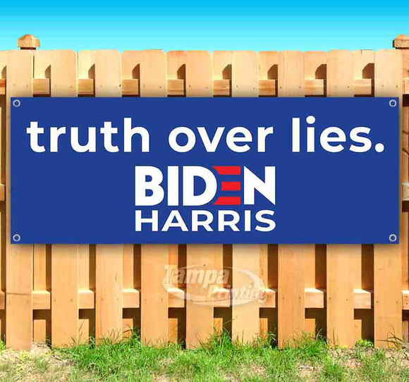Biden Harris Truth Over Lies Banner