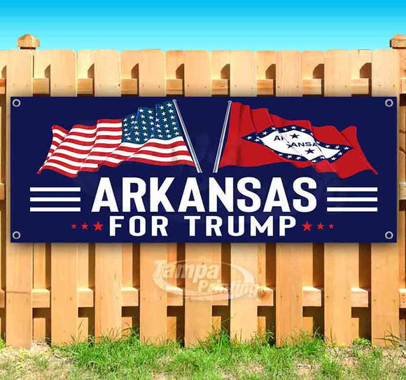 For Trump With Flag Arkansas Banner