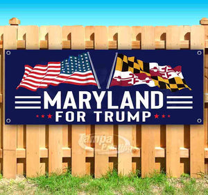 For Trump With Flag Maryland Banner